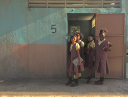 Ext. orphanage set & bkgrnd actors