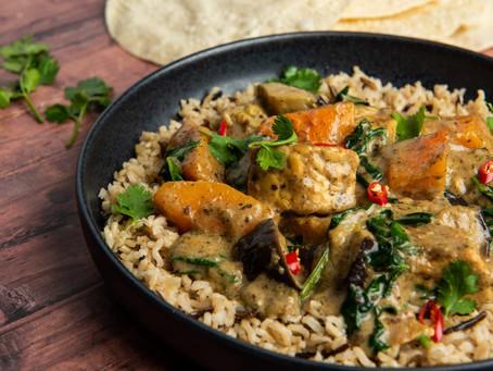 Butternut Squash & Tempeh Massaman Curry with Spinach & Aubergine