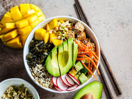 Coconut rice with mango and avocado