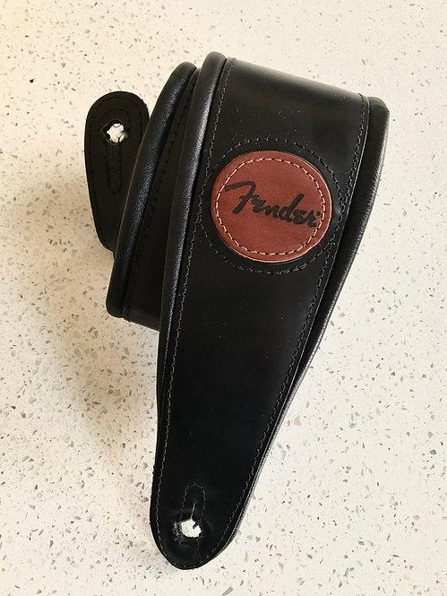 Vintage Fender Deluxe Wide Leather padded Black Strap
