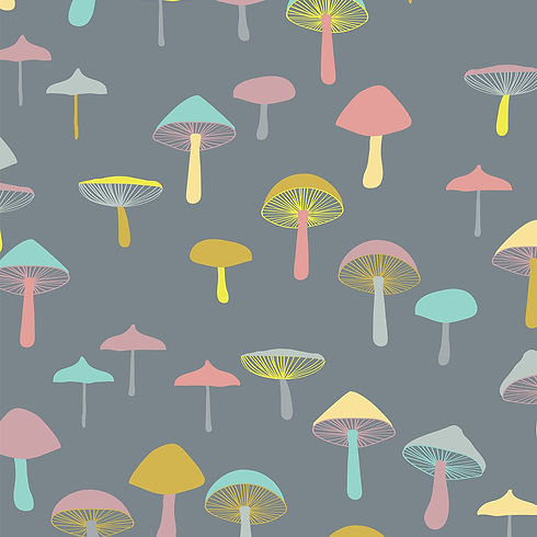 Behrendt Graphic Design pattern fabric design mushrooms