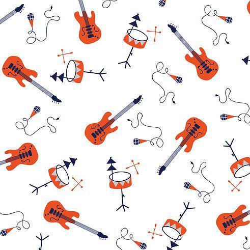 Behrendt Graphic Design pattern fabric design guitar music