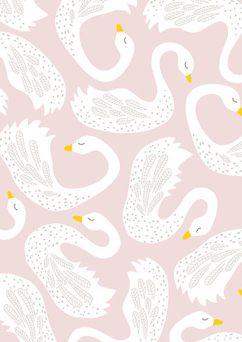 Behrendt Graphic Design pattern fabric design swan
