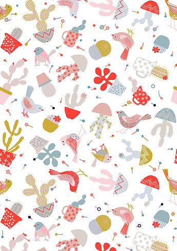 Behrendt Graphic Design pattern fabric design birds and cactii