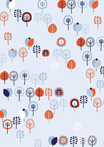 Behrendt Graphic Design pattern fabric design trees