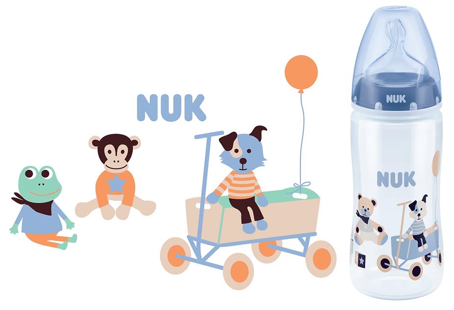 Linn Behrendt illustration designer bottle Flasche NUK-bear frog monkey