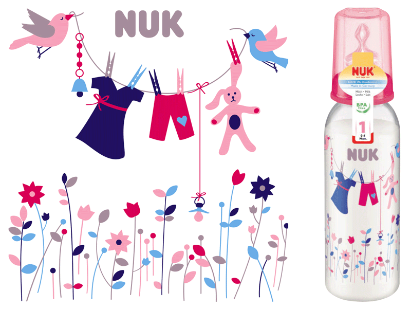 Behrendt Graphic Design FC bottle illustration clothes line for NUK