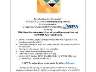 Free 8-hr HAZWOPER Training on June 6!