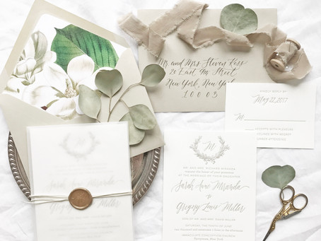 Sarah and Greg's Magnolia Wedding Invitations - Wedding Monogram, Wedding Wreath, Vellum Envelop