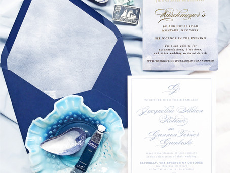 Jacqueline and Gannon's Montauk New York Wedding Invitations, Letterpress Printing, Watercolor and F