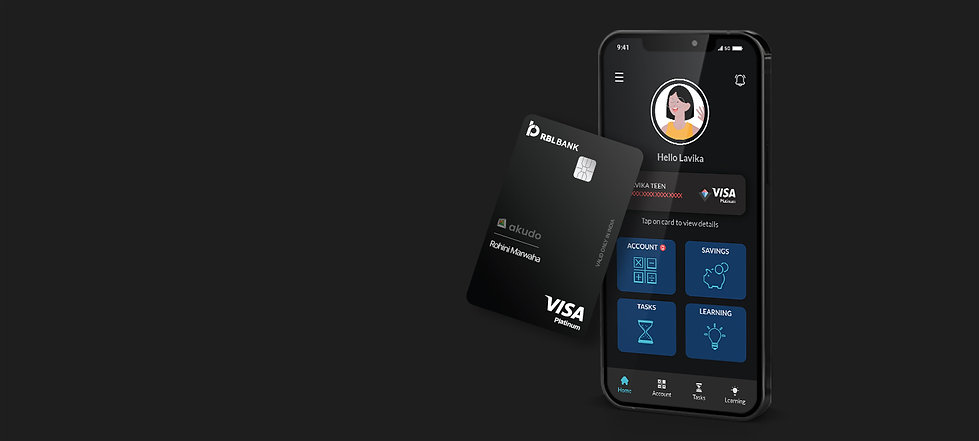 Akudo app and personalized debit card