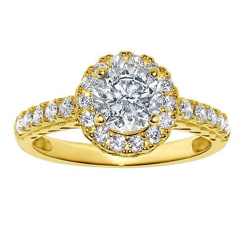 14k Yellow Gold 1 1/10ct TGW Round-cut Diamonette Engagement Ring