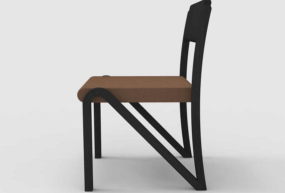 Side Chair Oak BLK UPH SEAT
