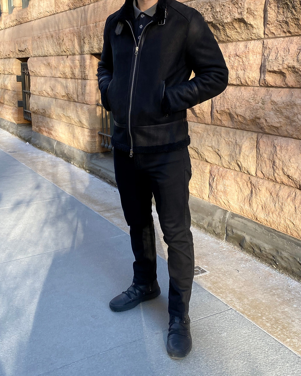 Dapper Professional wearing Coddi Polaris Midnight Black boots with a leather bomber and black denim