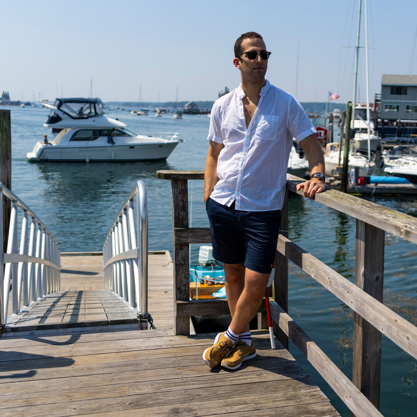 Short sleeve button down Performance shorts Hybrid boat shoes