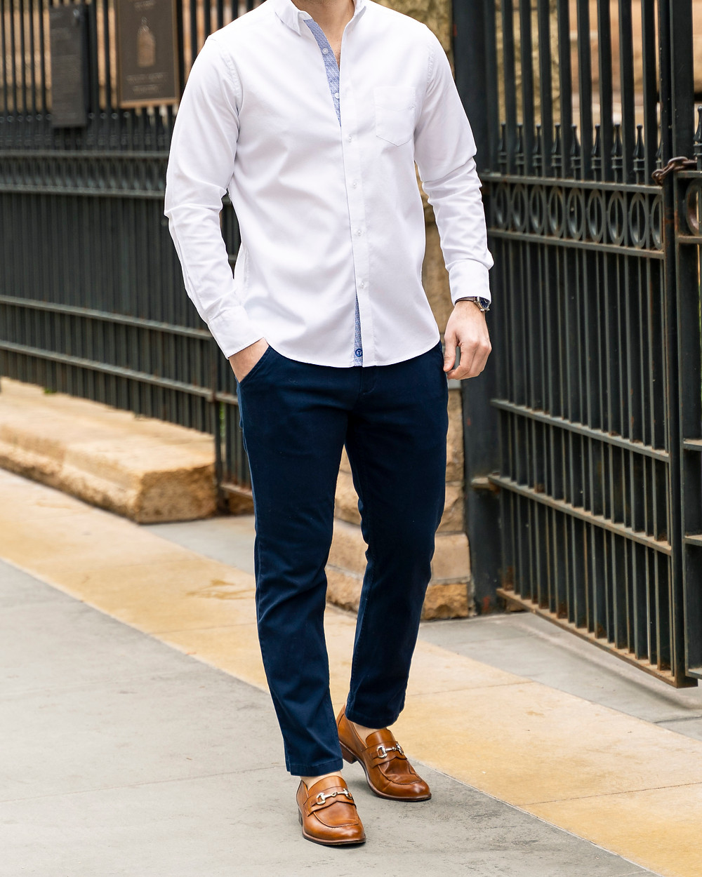 blue Mugsy chinos with white dress shirt and loafers.