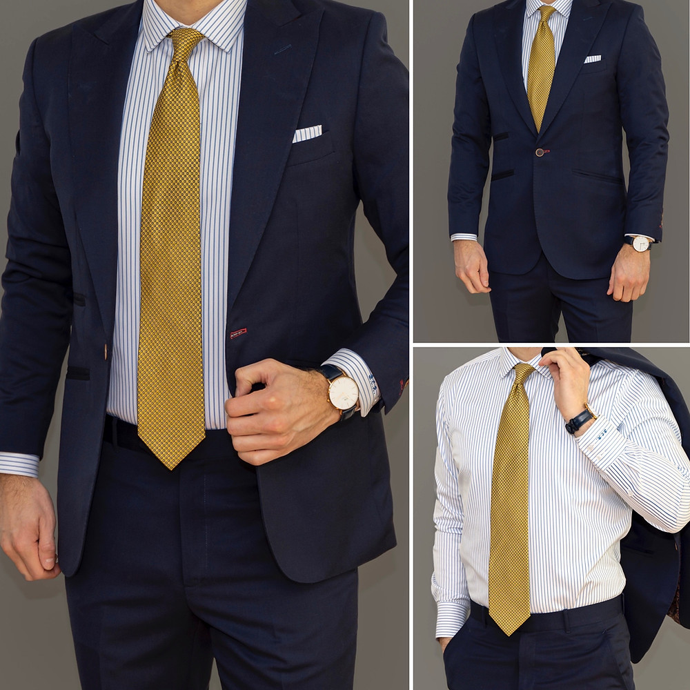 Dapper Professional wearing a Tailor Store custom suit and shirt.