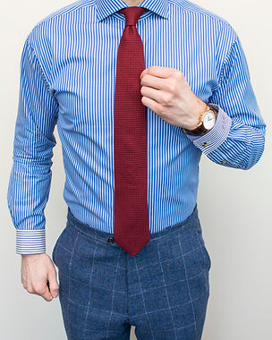 Dapper Professional styling a banker stripe custom dress shirt.