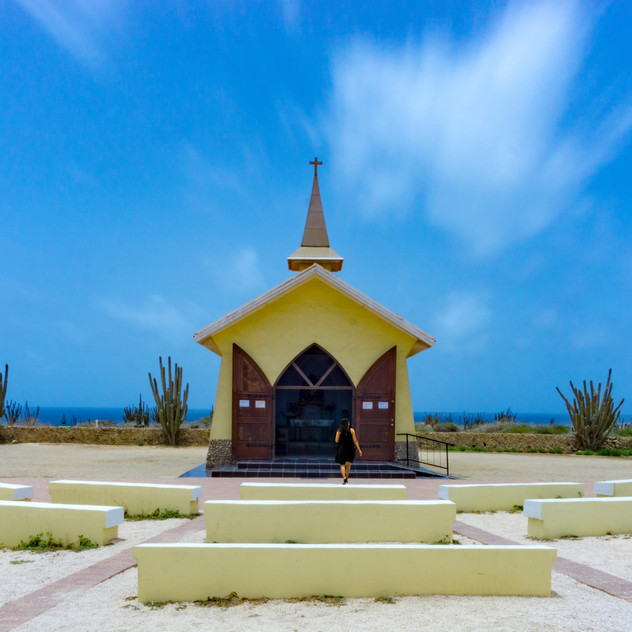 Aruba's Alto Vista Chapel captured in mid-day with a 10-stop ND filter.