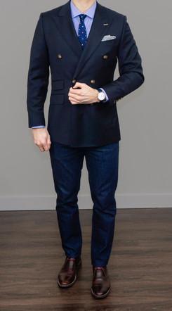 Indochino Custom blazer styled casually with denim.