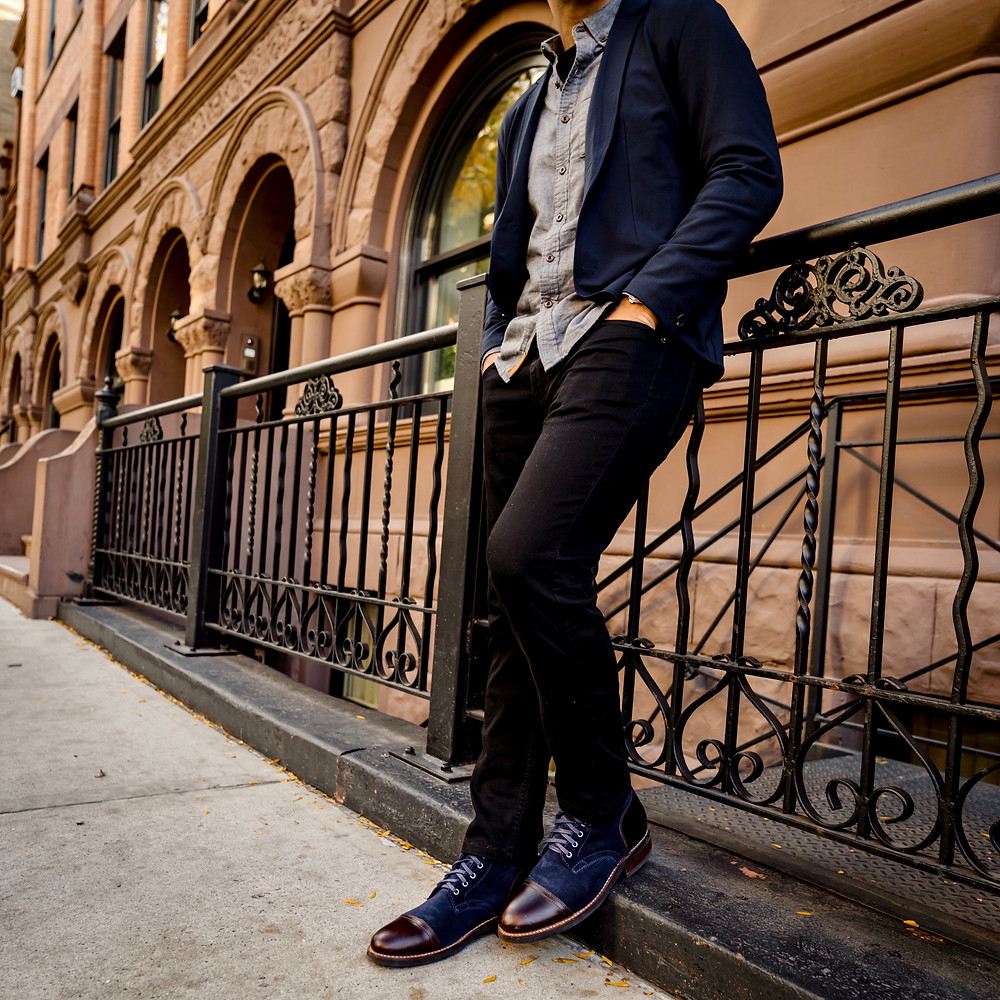 Dapper Professional wearing Mugsy Jeans and Blazer while in NYC.