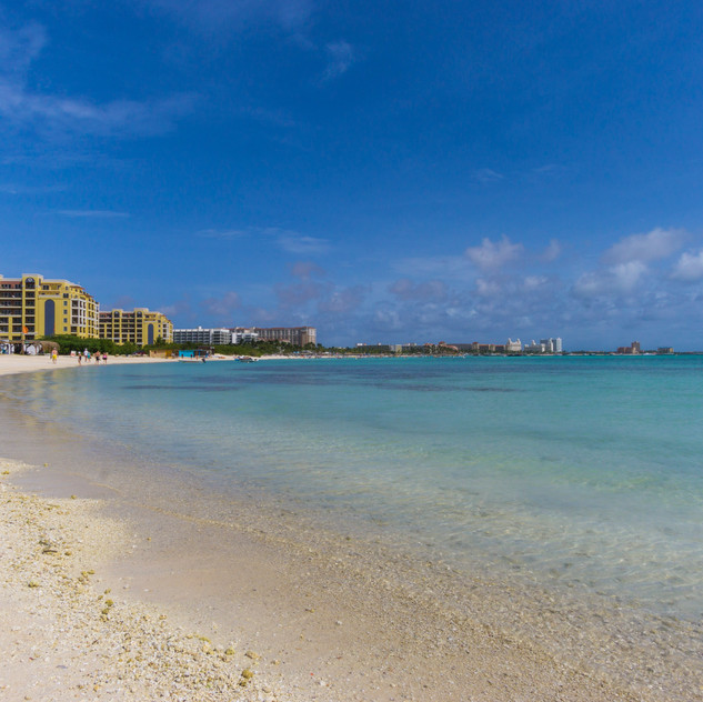 Aruba's high-rise hotels from north looking back.