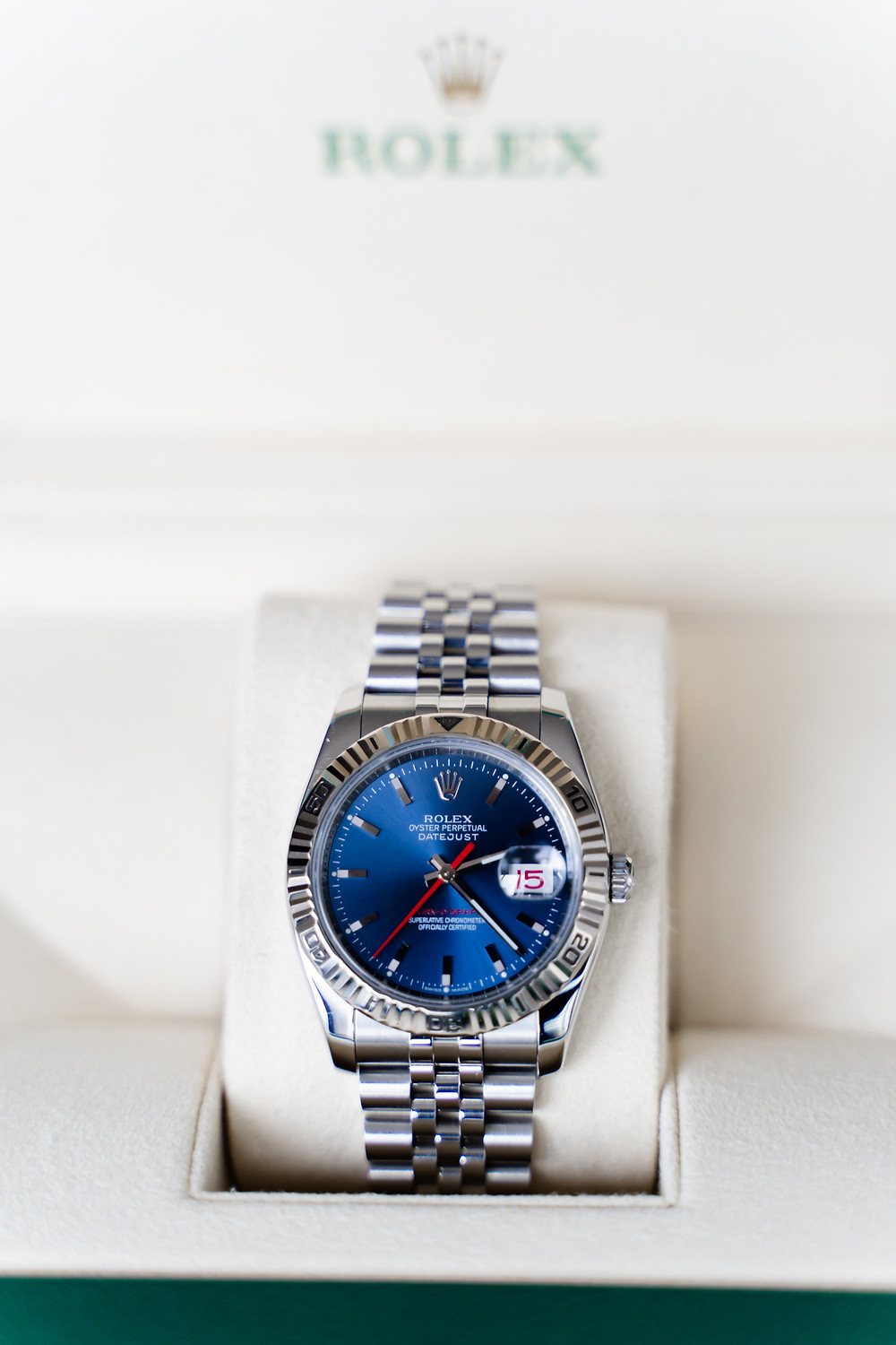 Rolex Turn O Graph 116264 with a blue dial and jubilee bracelet