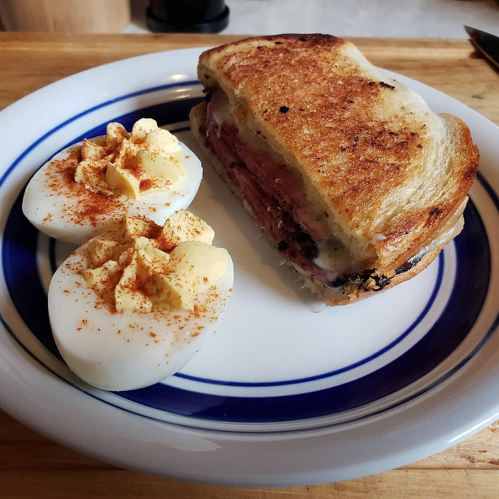 deviled eggs and a sandwich