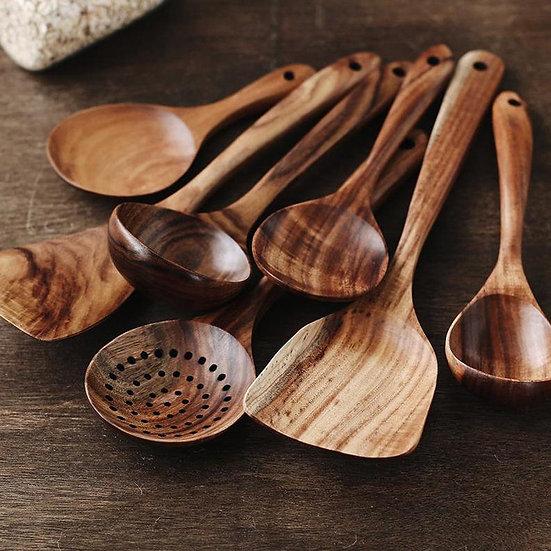 Nordic Teak Natural Wood Tableware Spoon Set