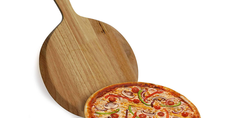 Round Acacia Wood Pizza Peel, Serving Pan with Handle for Baking, Cutting Pizza,