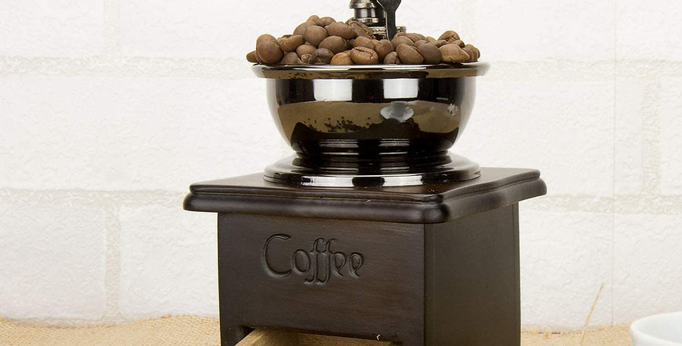 Manual Coffee Grinder Wooden Base with Drawer