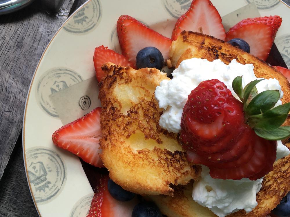 Toasted Angel Food Cake with Berries and Maple Whipped Cream