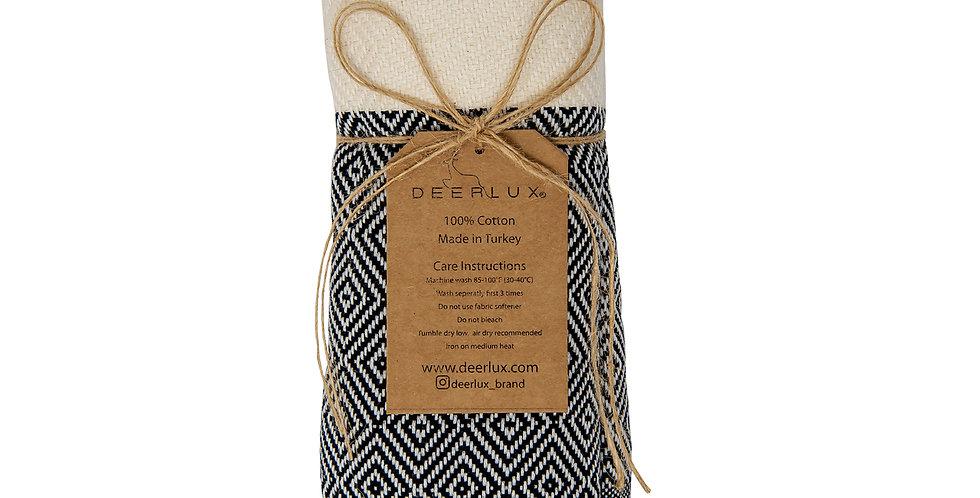 "Deerlux 100% Cotton Turkish Hand Towels, Set of 2 18"" x 40"" Diamond Peshtemal Ki"
