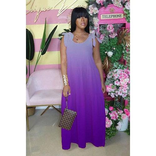 Gradient Strappy Sleeveless Maxi Dress