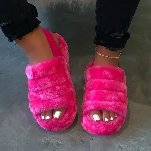 Hot Pink Open Toe Warm Slippers