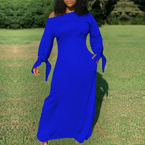 Sexy Casual Solid Color Tie a Knot Long Sleeve Maxi Dress