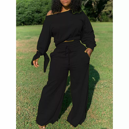 Long Sleeve Wide Leg Pants Two Piece Sets