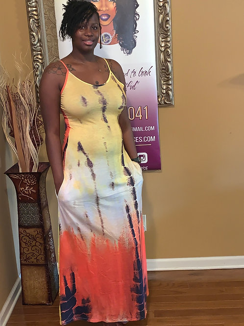 Sexy Tie Dye Print Loose Slip Maxi Dress