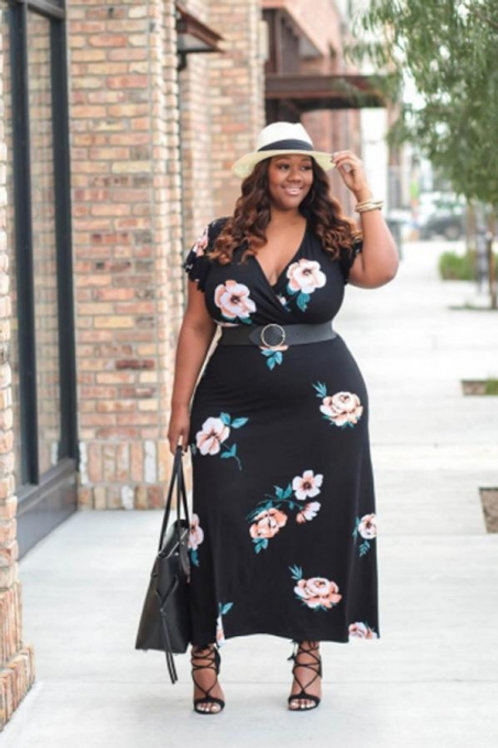 Black Plus Size Floral Printed Ankle Length Dress