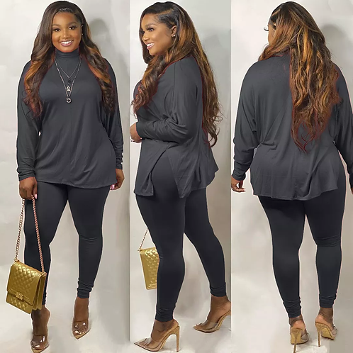 Solid Long Sleeves Two Piece Pants Set