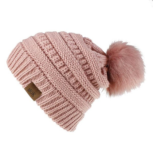 Winter Faux Fur Pom Pom Hat Toddler Women Knitted Beanie Hat
