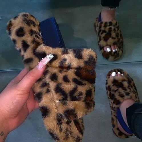 Leopard Open Toe Warm Slippers