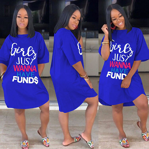 Plus size causal Loose Letter print