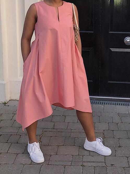 Solid Sleeveless Irregular Midi Dress