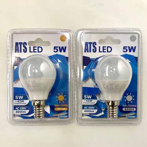 LAMPADINA LED G45 5W E14 220V LUCE CALDA / FREDDA