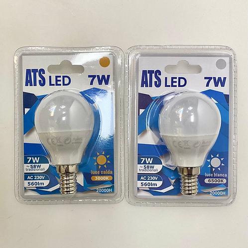 LAMPADINA LED G45 7W E14 220V LUCE CALDA / FREDDA