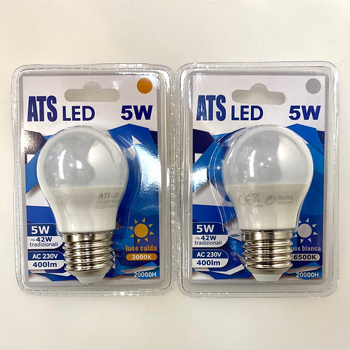 LAMPADINA LED G45 5W E27 220V LUCE CALDA / FREDDA