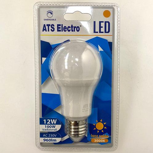 LAMPADINA LED A60 12W E27 220V LUCE CALDA DIMMERABILE