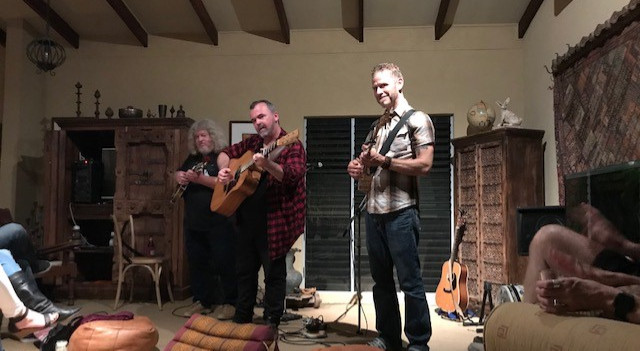 Folk songwriter performers at Kristen's Music House in Hervey Bay entertain an intimate group.