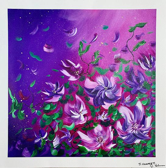 Flowers at Sunset - Art Print
